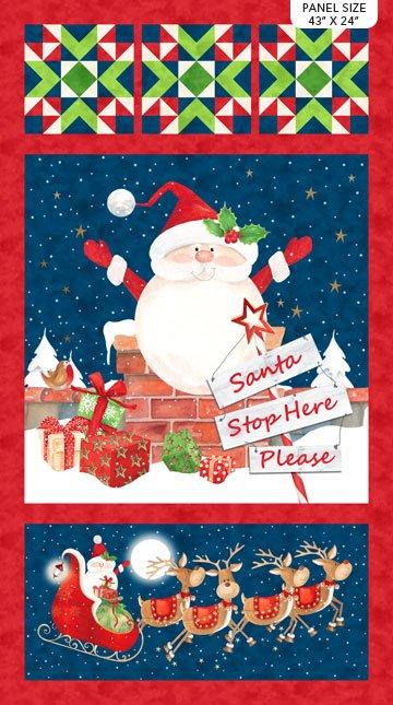 Santa Stop Here - Navy Multi Santa Stop Here Panel