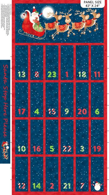Santa Stop Here - Navy Multi Advent Calendar Panel