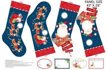 Santa Stop Here - Navy Multi Stocking Panel