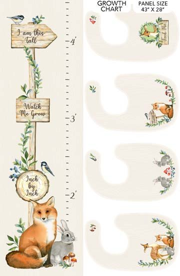 Watch Me Grow - By Deborah Edwards for Northcott  #DP23932-11 - 43 x 29 Growth Chart Panel