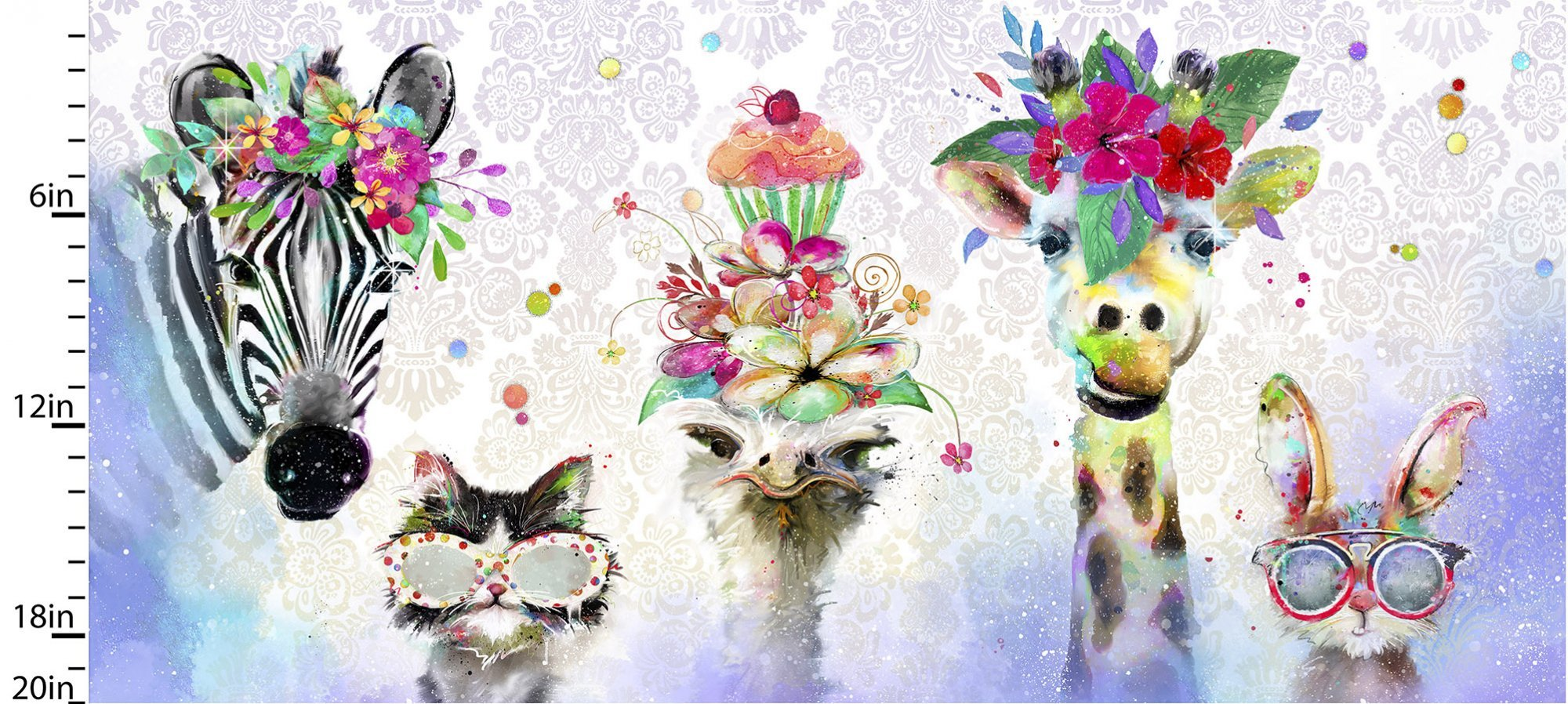 Party Animals by Connie Haley - Panel -  #17315-MLT-CTN-D