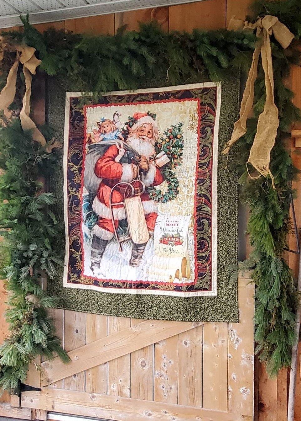 Old Time Santa Lap Quilt - Store Sample