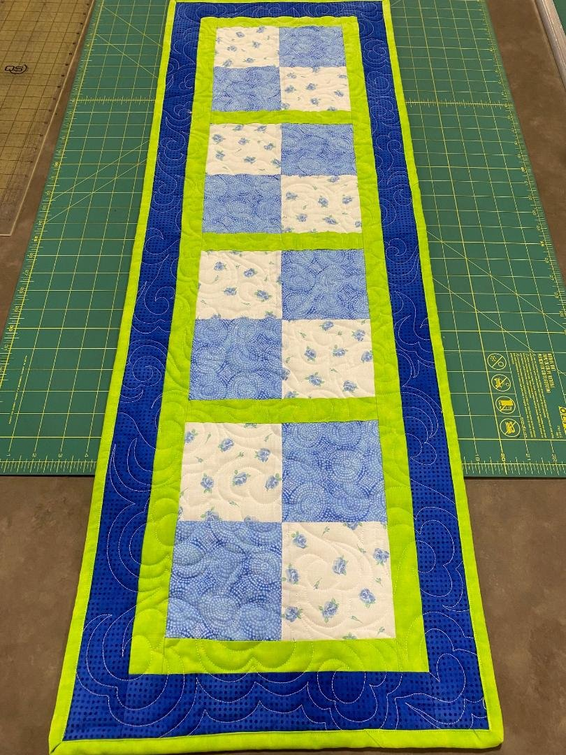 4-Patch in Blue, Lime, White Table Runner, 14x40