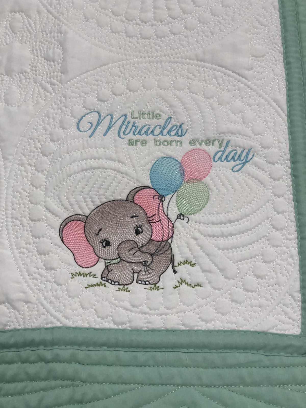 Heirloom Baby Quilts Little Miracles are born every day_Baby Elephant