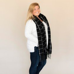 Black Plaid Adaline Scarf