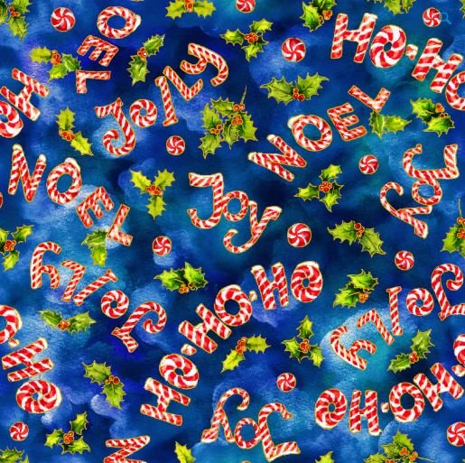Noel Candy Cane Words Blue