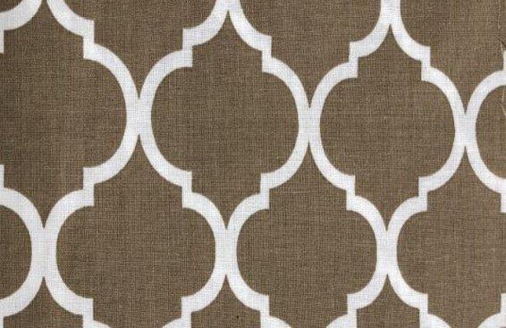 Flat Fold Quatrefoil-White on Khaki