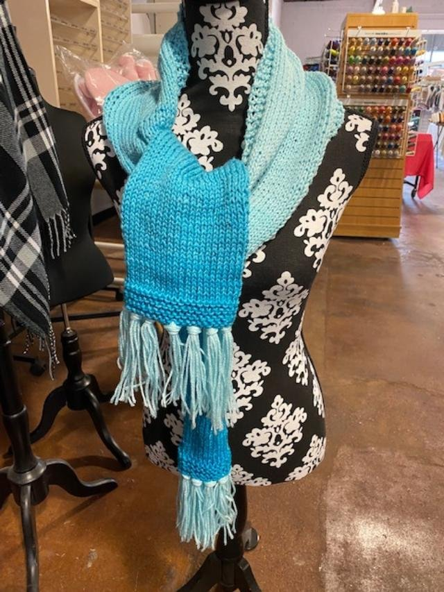 Knit Scarf in Ombre Teal 8x60 w/fringe
