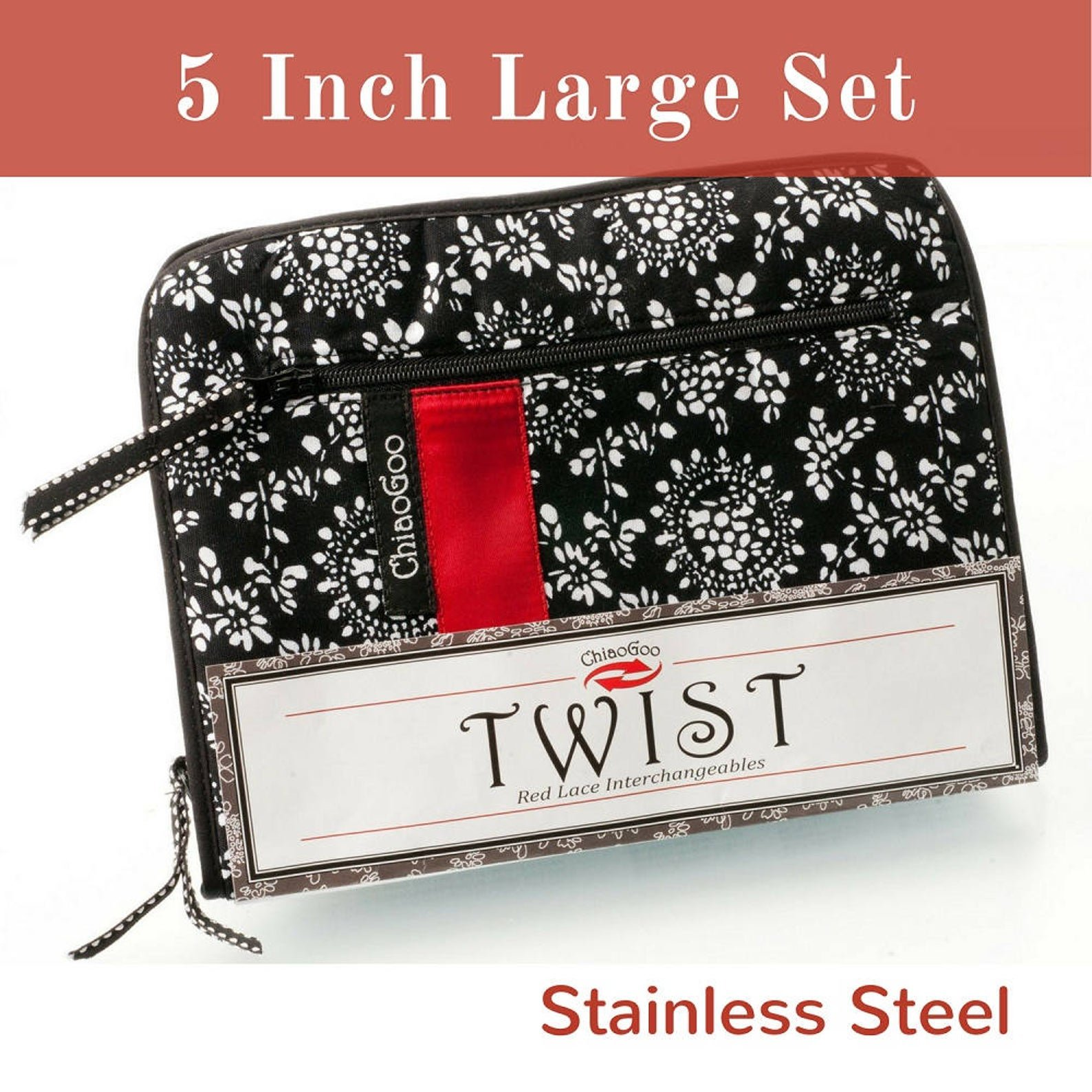 TWIST 5 in. Interchangeable Needle Set Red Lace Large US 9-15 (5.50mm-10.00mm)