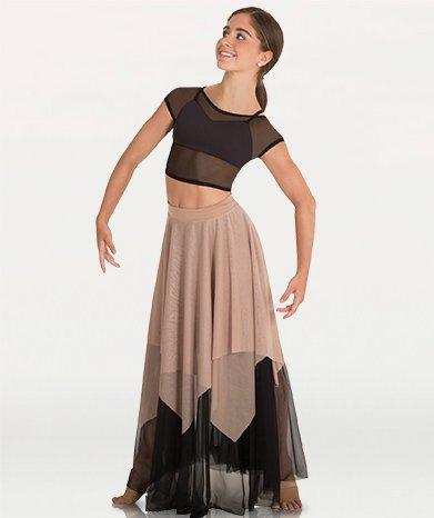 Double Layer Uneven Chiffon Skirt Child 0539