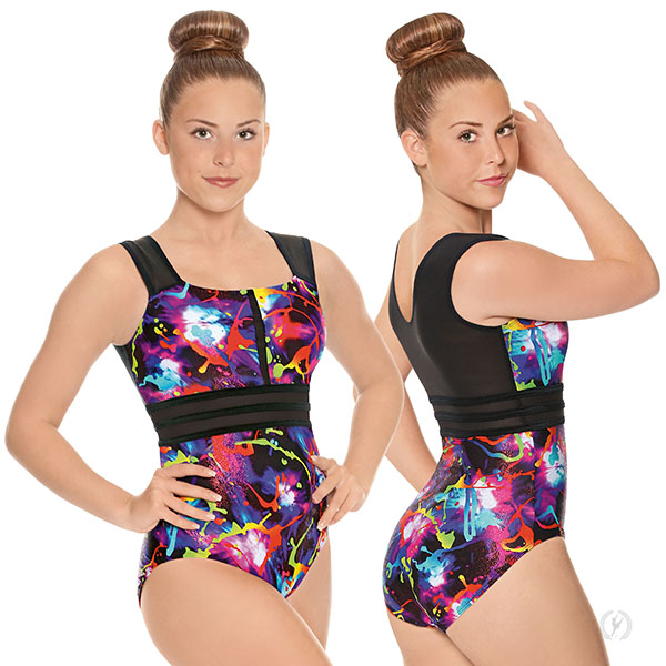 Adult Graffiti Striped Mesh Leotard 75899