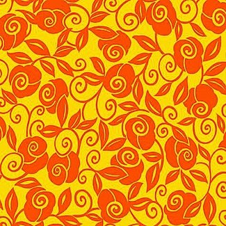 Brooke - Floral Scroll - Orange