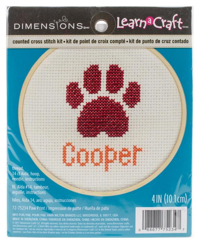 Counted Cross Stitch - Dog Paw