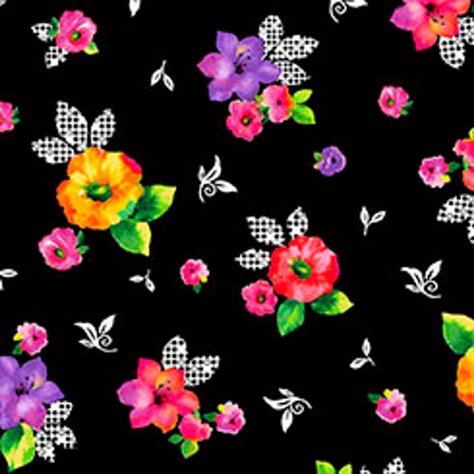Brooke - Lg Tossed Flowers - Black