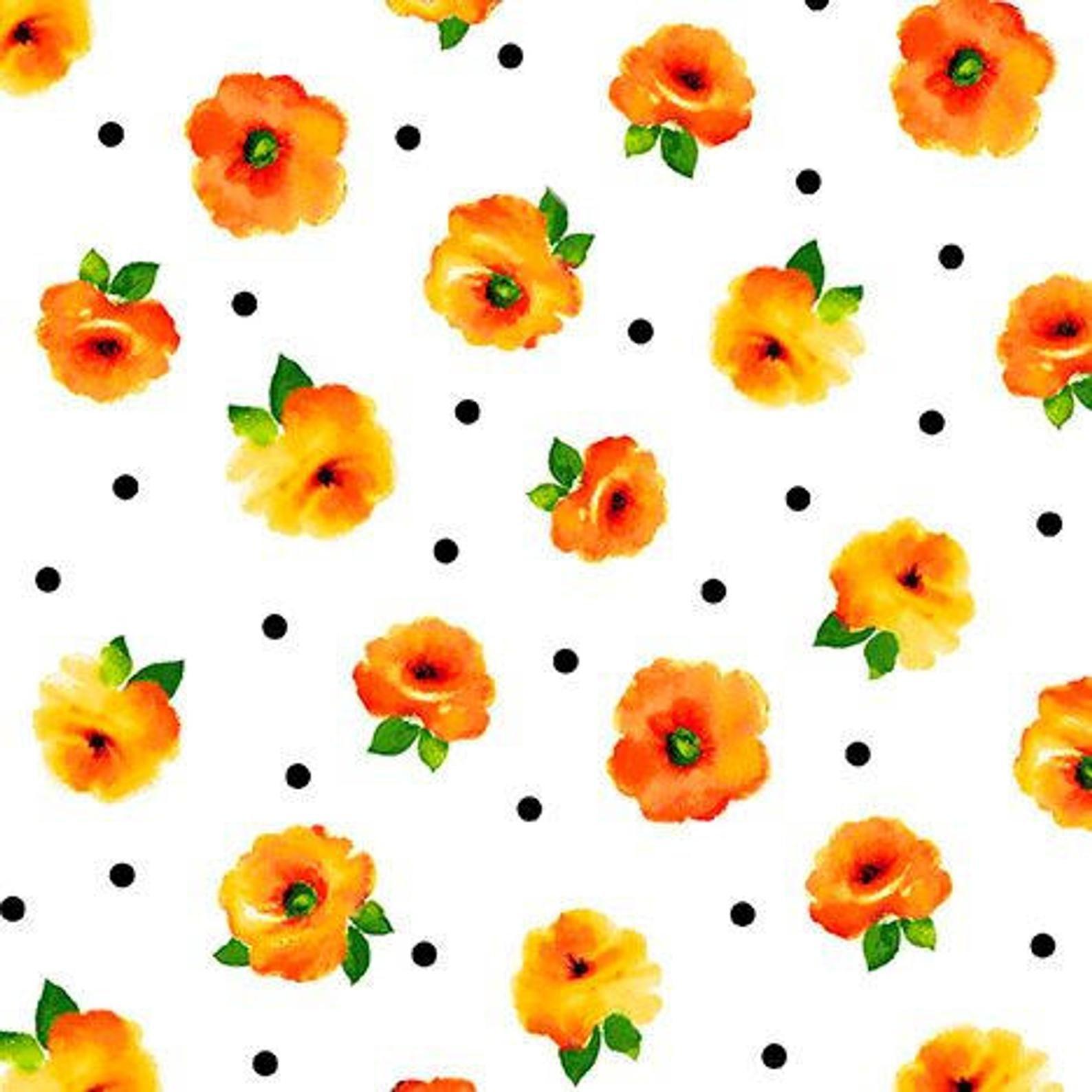 Brooke - Tossed Flowers - Orange
