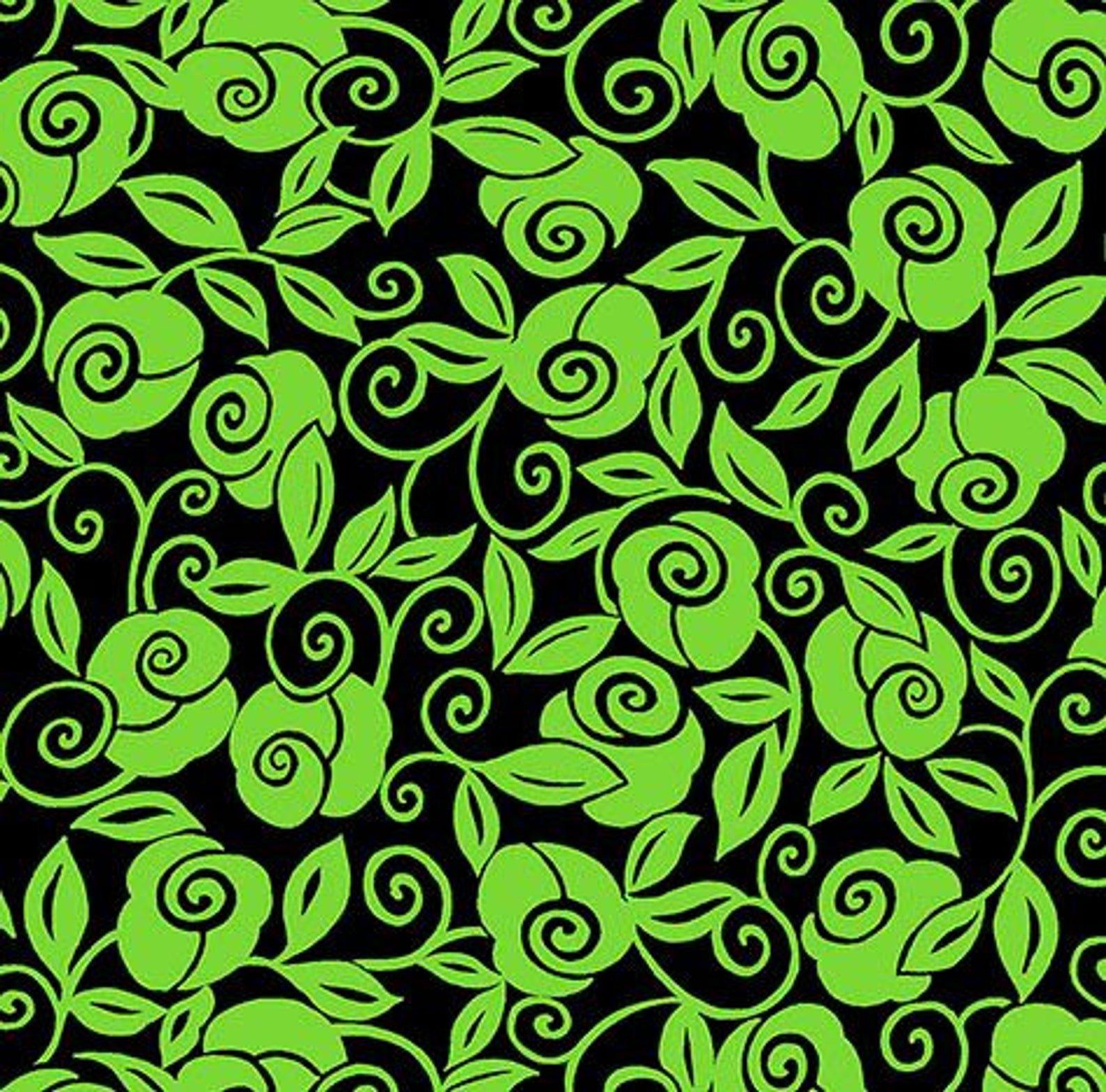 Brooke - Floral Scroll - Lime