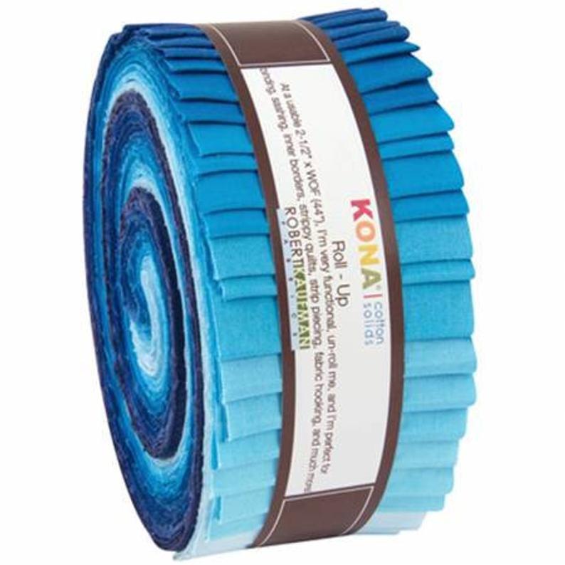 2-1/2in Strips Roll Up Kona Cotton Sky Gazer Palette