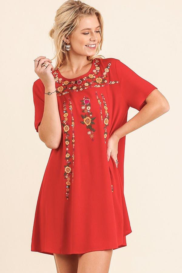 Floral Embro Dress