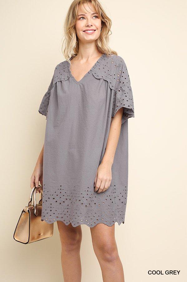 Eyelet Lace V Dress
