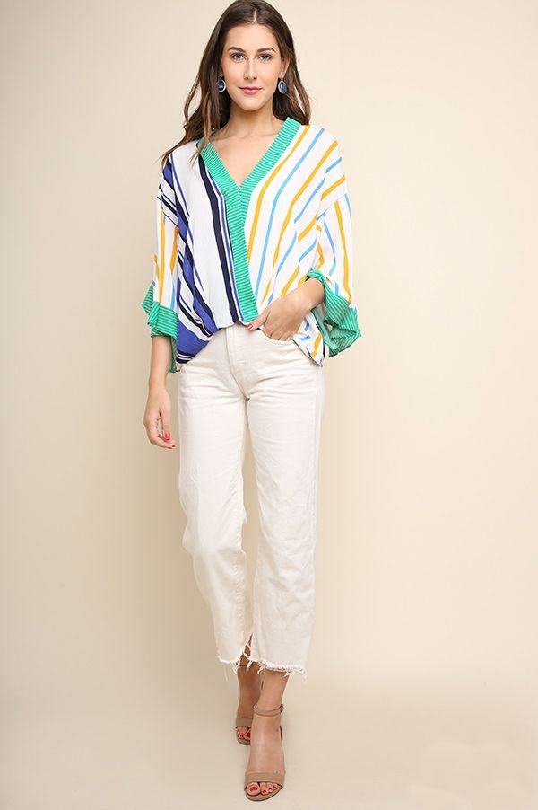 C1494 - Stripe Surplice Top w Ruffled Sleeves