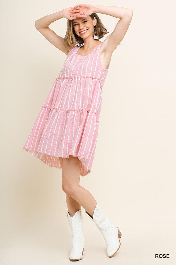Striped Frayed Hem Dress