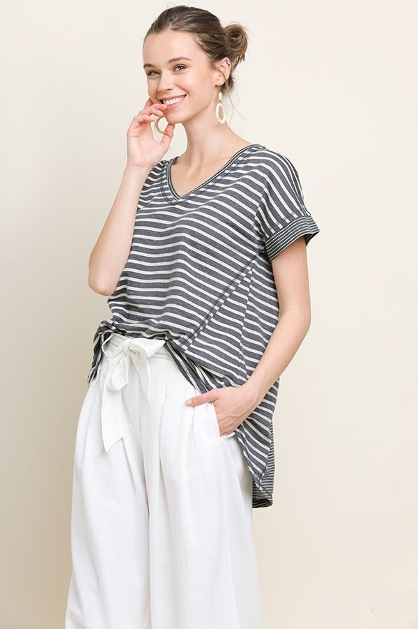 Stripe S/S Dress w Pockets