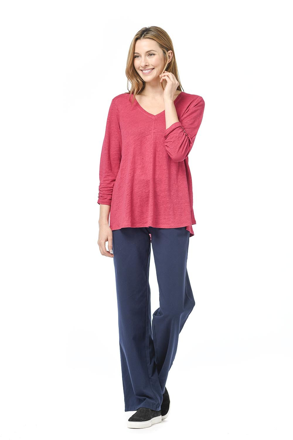 Linen Knit Ruch Sleeve Tunic