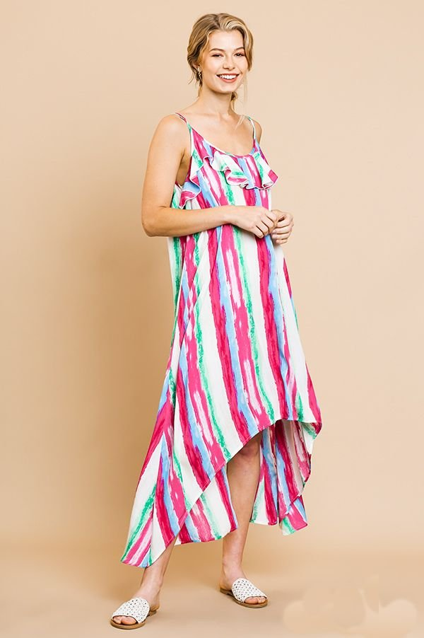 Stripes Ruffle Maxi Dress