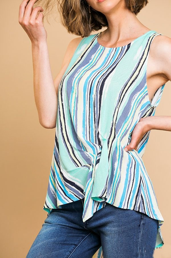 G2268 - Striped Gathered Front Top