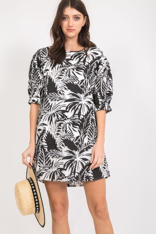 Blk & White Print Dress