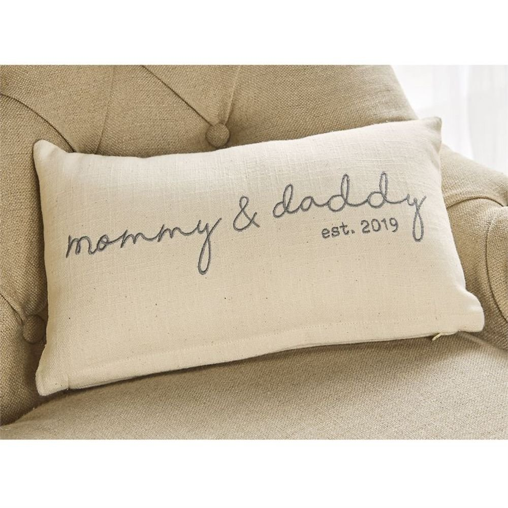 Mommy & Daddy Est 2019 Pillow
