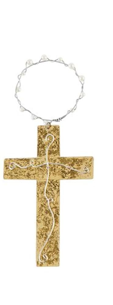 Decor Cross Ornament with Pearl Hanger