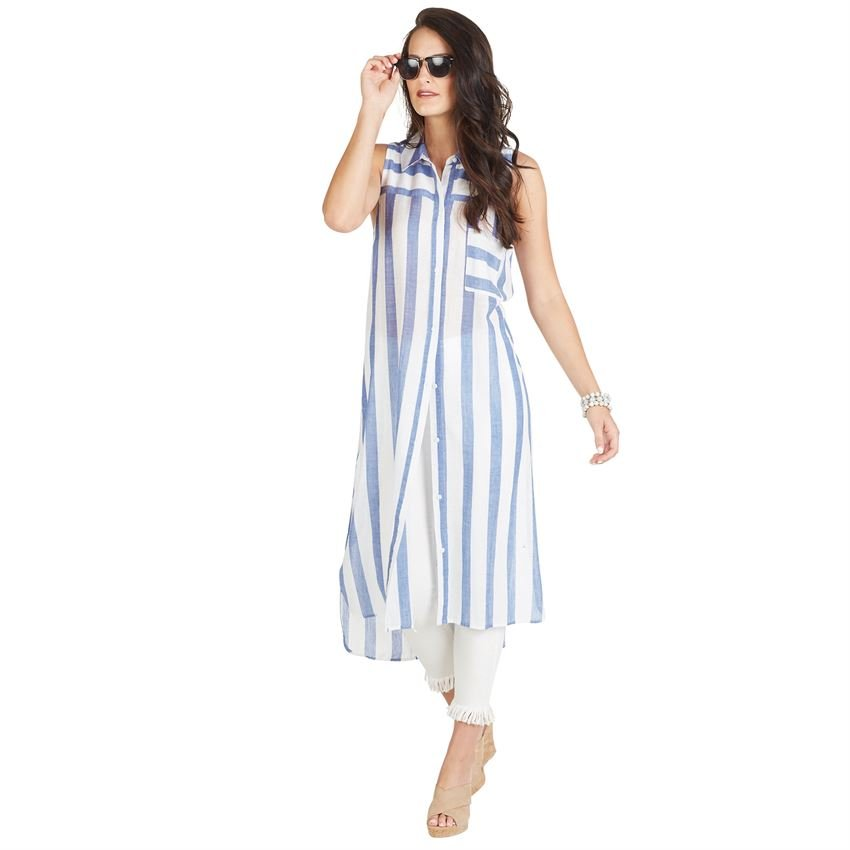 Blue Stripe Duster