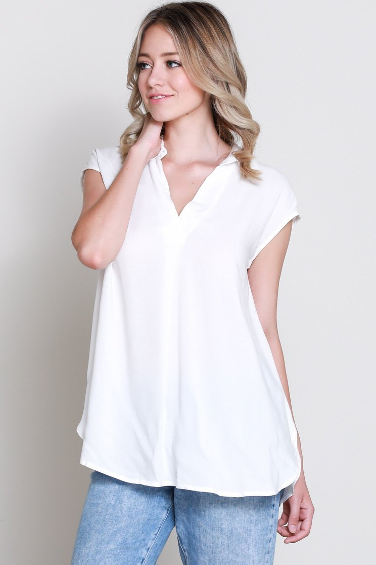 Ivory Woven S/S Top