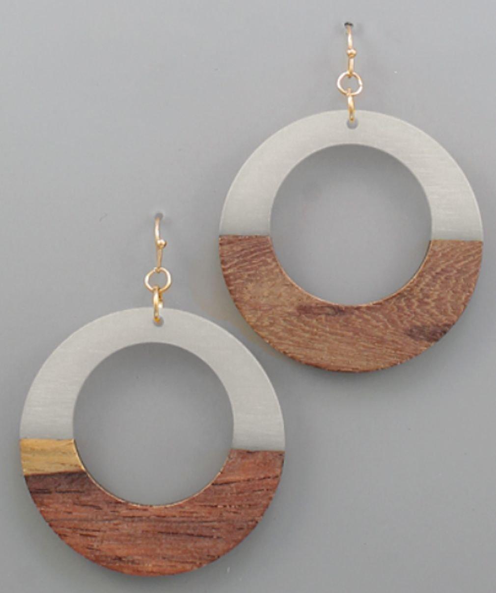 Circle Acetate & Wood Earrings
