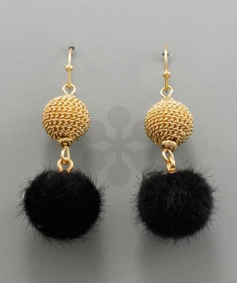 Cowhide Balldrop Earrings