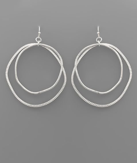 Double Uneven Circle Earrings