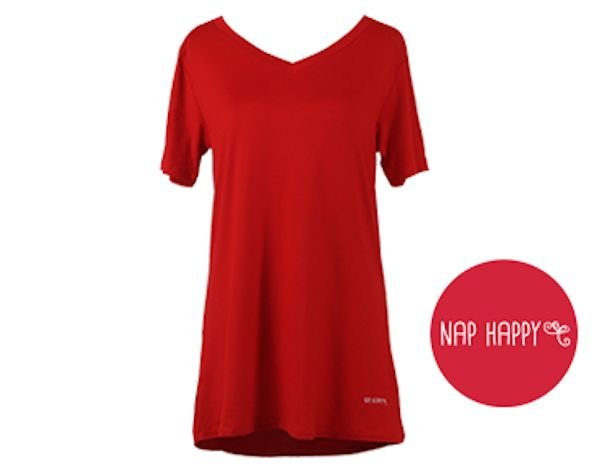 Red V-Neck Loungewear Tee Shirt