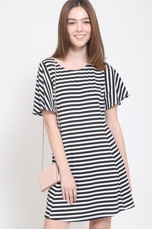 Stripe Dress with Laceup Back