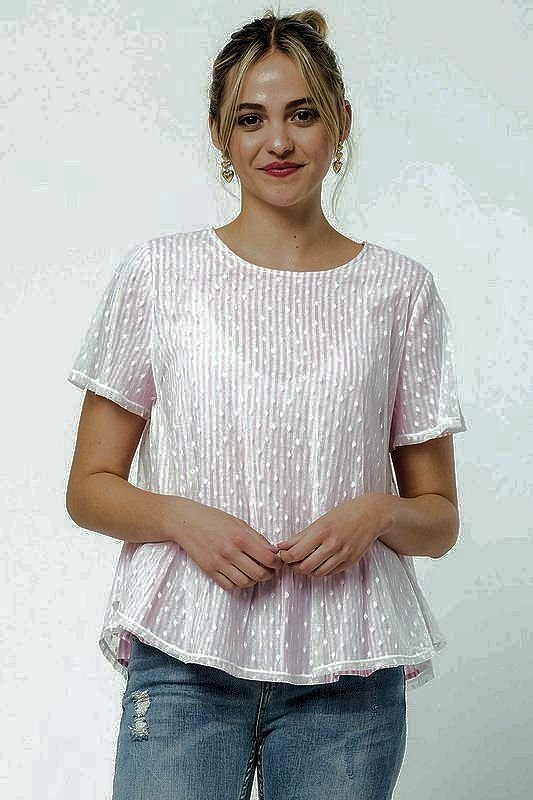 Pink S/S Top with Lace