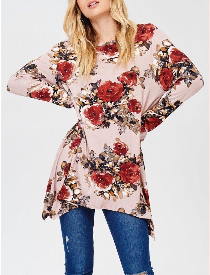 Floral Asymmetrical Top