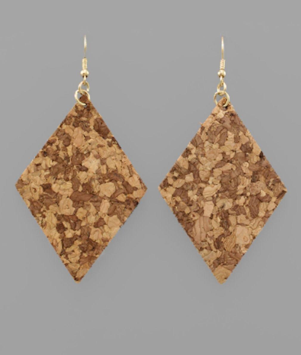 Pattern Cork Rhombus Earrings