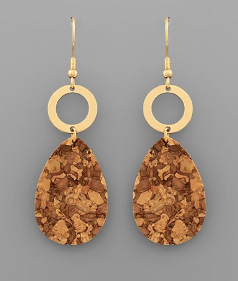 Teardrop Cork and Circle Earrings