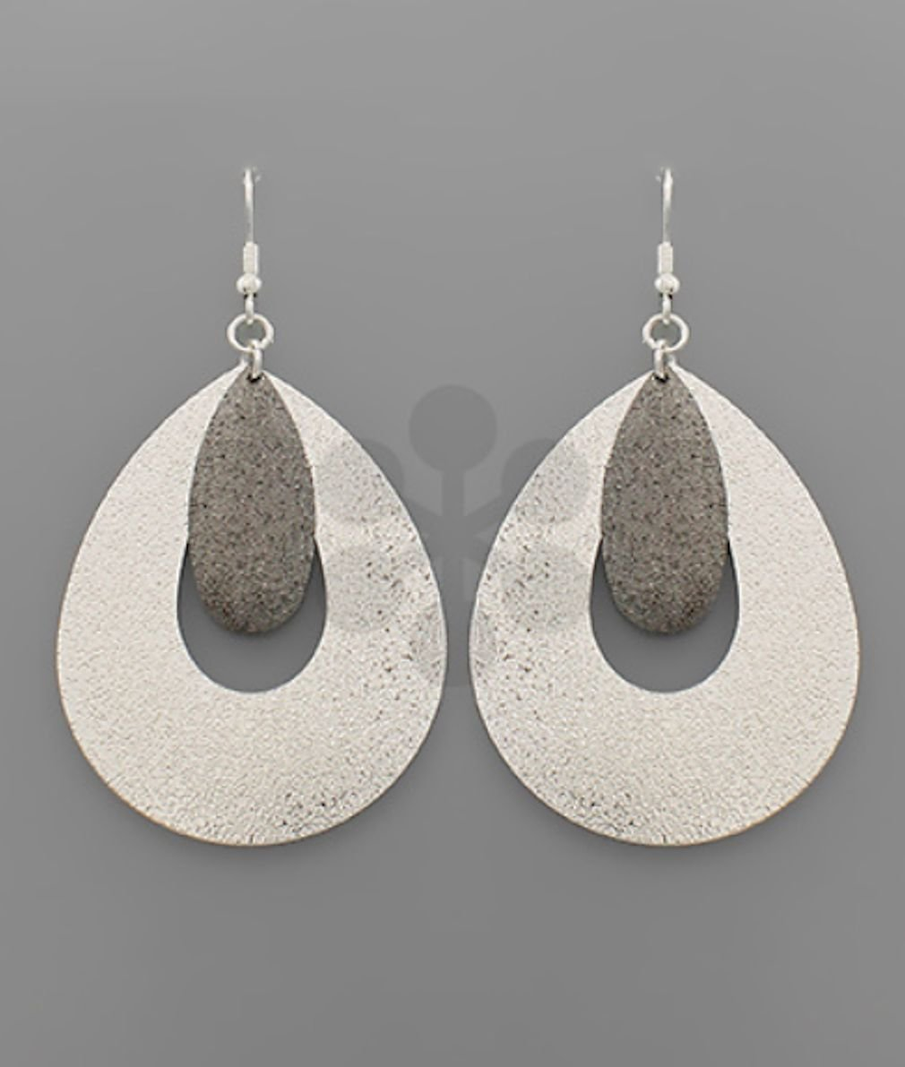 Textured Double Teardrop Earrings