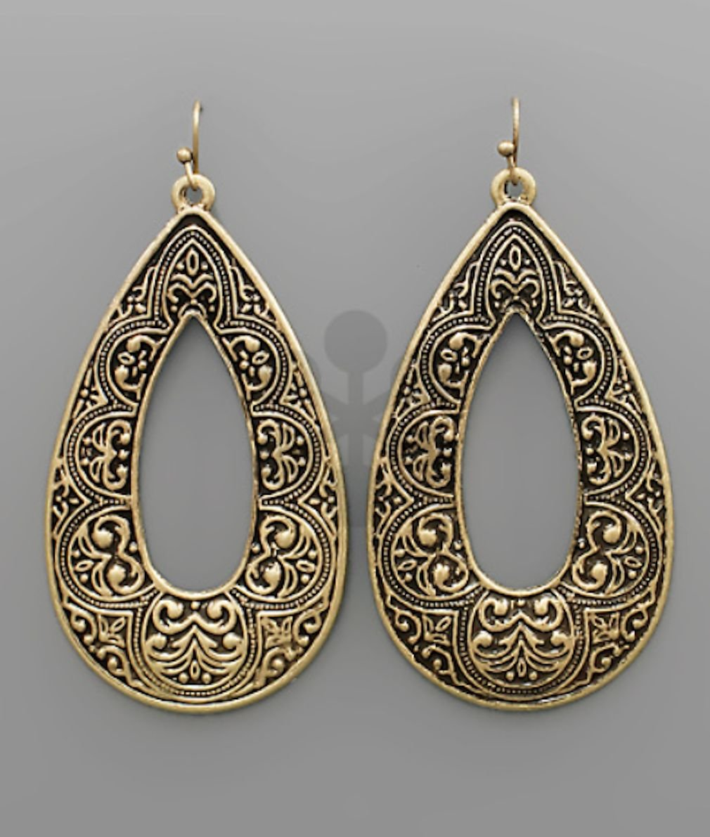 Textured Metal T-Drop Earring