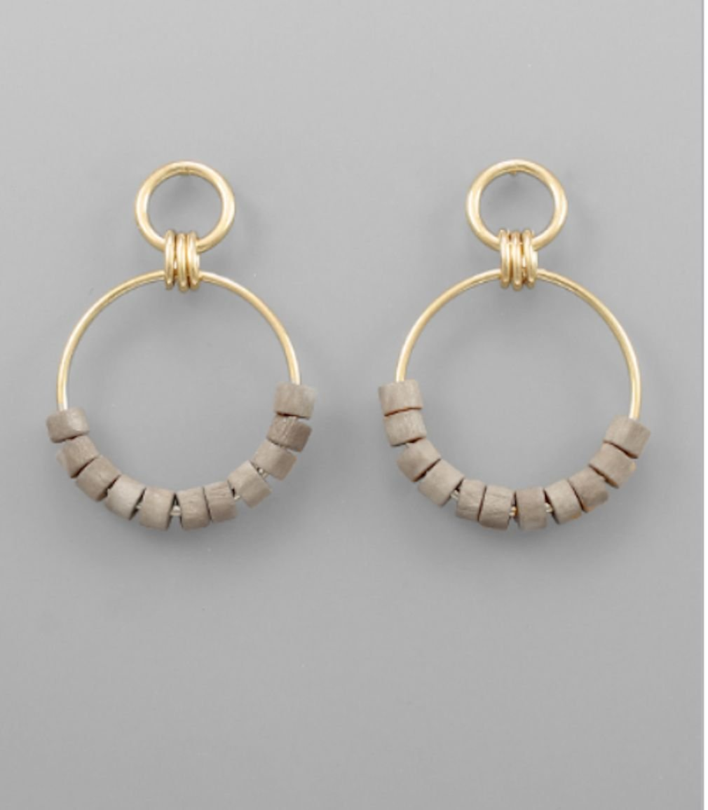 Wood Bead Circle Dangle Earrings