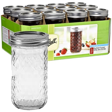 12oz Reg Mouth Quilted Crystal Jelly Jars