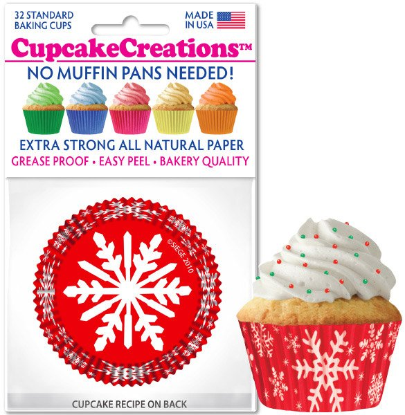 Cupcake Liners - Red Snowflake