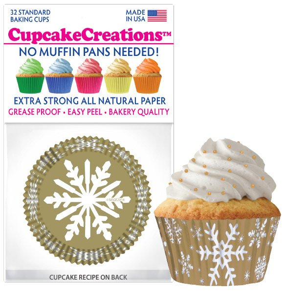 Cupcake Liners - Gold Snowflake