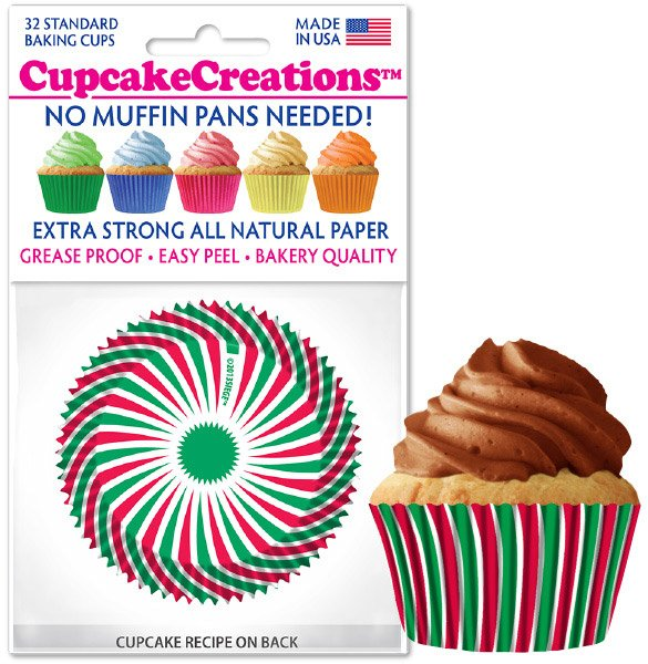 Cupcake Liners - Red & Green Swirl
